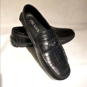 Prada Croc-Embossed Leather Driving Loafer